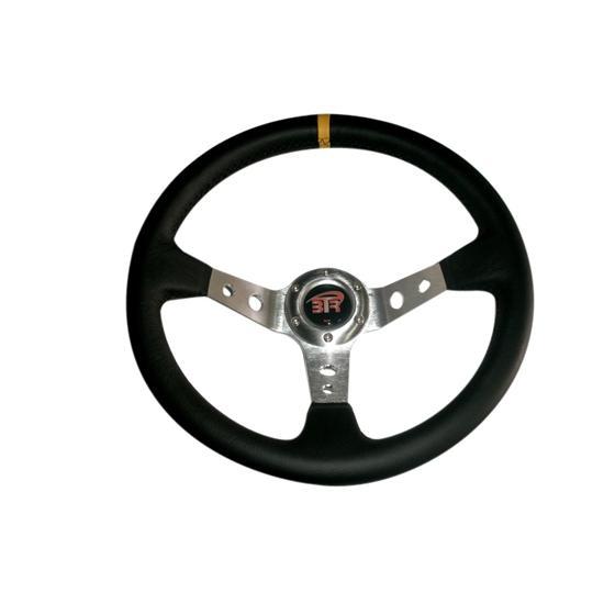 VOLANTE WRC3 DE PIEL LISA NEGRO/PLATA 350MM 336A FRANJA AMARILLA